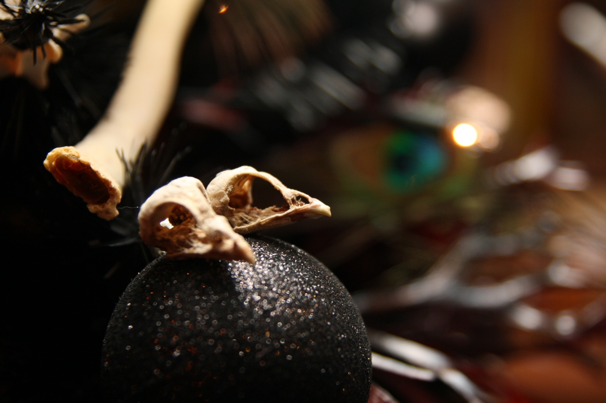 Robin & baby bird skulls adorn the macabre Christmas Tree