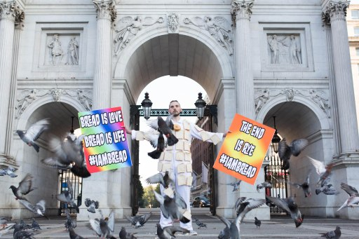 EDITORIAL USE ONLY To highlight the launch of the new game I Am Bread, which will be released by Bossa Studios for iPad and iPhone on Thursday September 3rd, the game creators, have designed the #IAmBread suit to feed the pigeons in London. PRESS ASSOCIATION Photo. Picture date: Wednesday September 2, 2015. Photo credit should read: David Parry/PA Wire